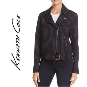 NWT KENNETH COLE Pinstriped Motorcycly Jacket Coat